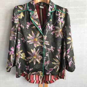 Sz Small Eloise floral & stripe blouse Anthropolog
